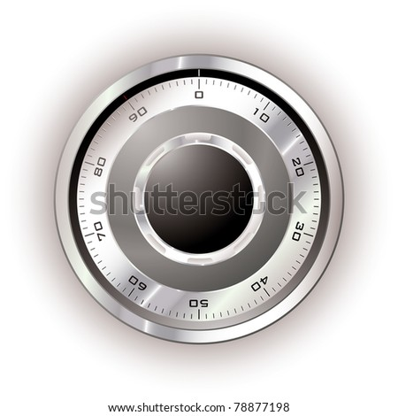 Silver safe dial with white background and light reflection - stock vector