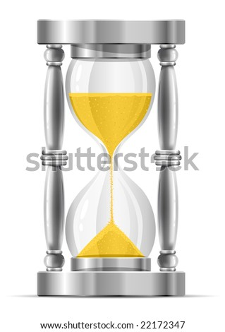 silver sand glass clock vector illustration isolated