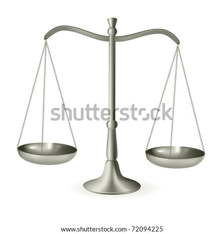 Silver scales of justice. Vector illustration. - stock vector