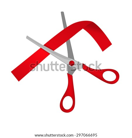 Silver scissors cutting red ribbon.  Vector Illustration - stock vector