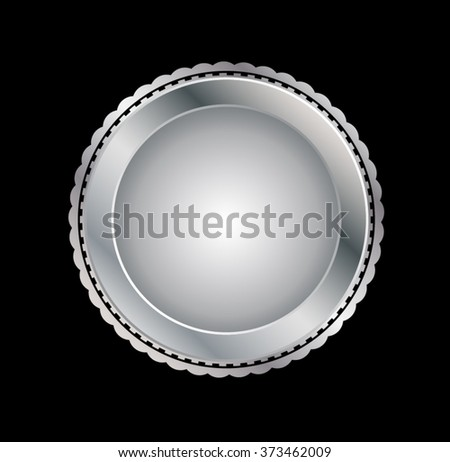 Silver Seal . Vector metal badge - stock vector