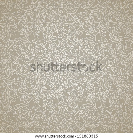 Silver seamless pattern in retro style - stock vector