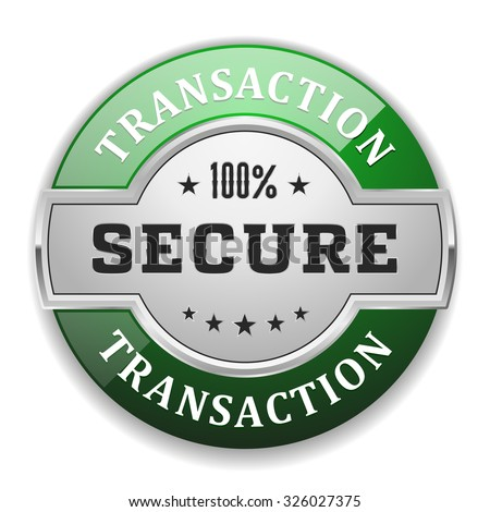 Silver secure transaction badge with green border on white background