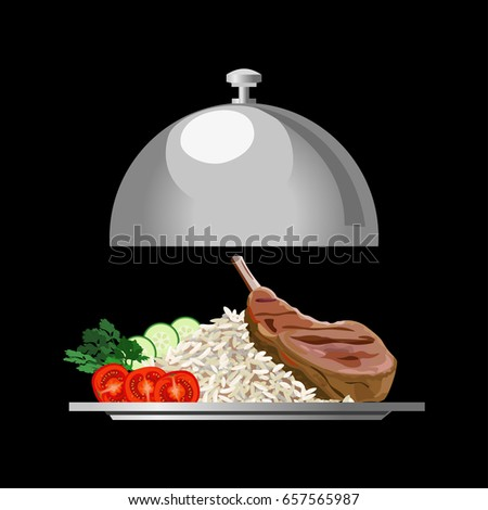 Silver Serving Tray With Rice, Meat And Vegetables. Vector Illustration