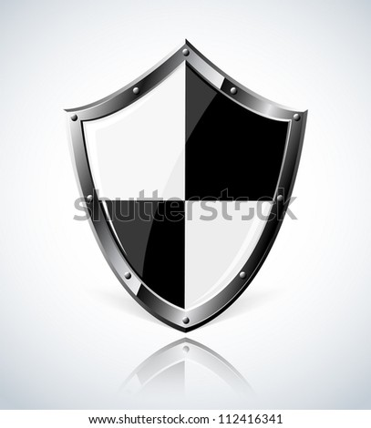 Silver shield.  Vector EPS10. Transparency is used to create shadow. - stock vector