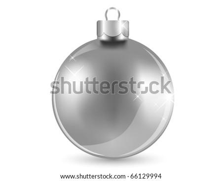 Silver shiny ball - stock vector