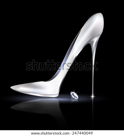 silver shoe and crystal - stock vector