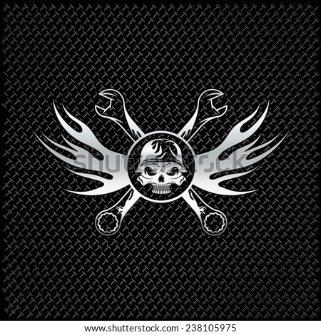 silver skull in helmet with flames and wrenches - stock vector