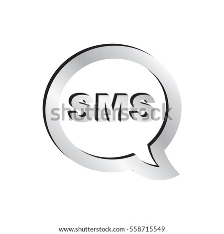 Silver SMS Cell Phone Text Message Icon