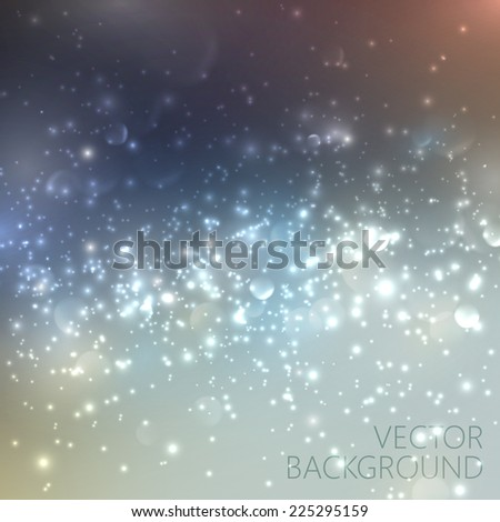 Silver sparkling background with glowing sparkles and glitters. Shiny holiday illustration - stock vector