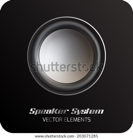 Silver speaker on the black background. Vector elements. Silver look. - stock vector