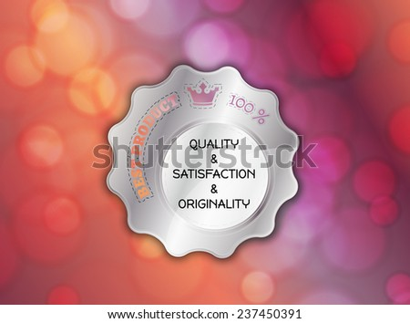 silver stamp, sticker, or label on color blurred background - stock vector