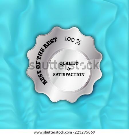 silver stamp, sticker, or label on velvet background - stock vector