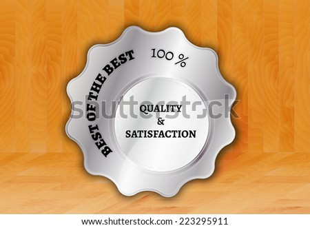 silver stamp, sticker, or label on wooden background - stock vector