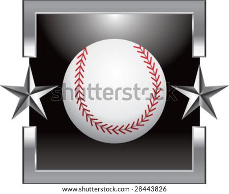silver star baseball - stock vector