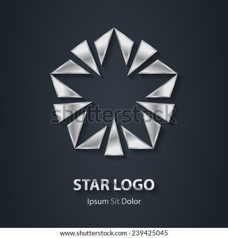 Silver star elite logo. Award 3d icon. Metallic logotype template. Vector design element. - stock vector