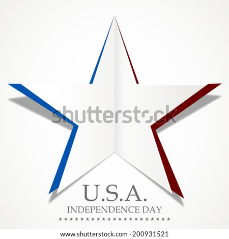 Silver star made by fold paper on grey background with stylish text U.S.A. Independence Day.  - stock vector