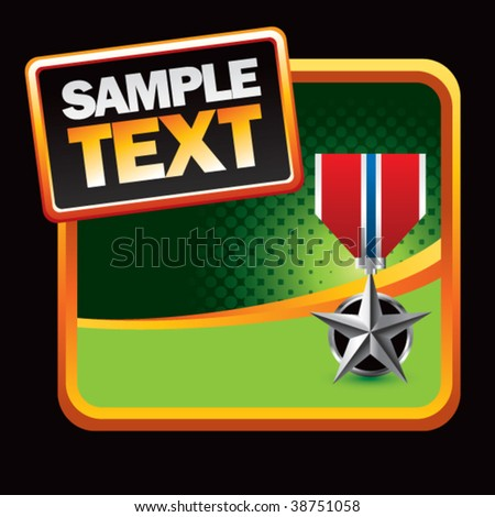 silver star medal green halftone backdrop - stock vector
