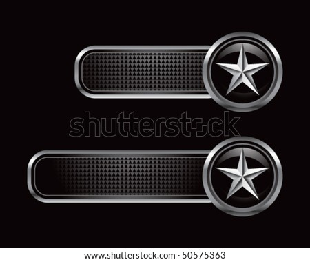 silver star on black banners - stock vector