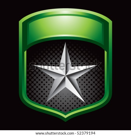 silver star on green shiny display - stock vector