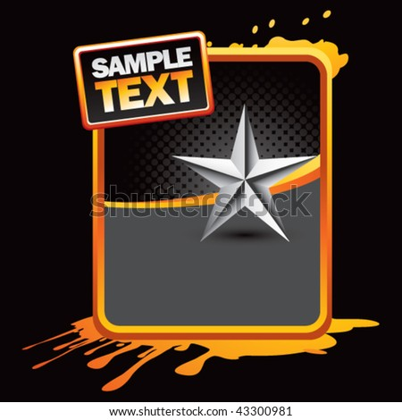 silver star on orange splattered template