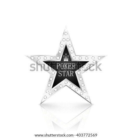 Silver star with diamonds on white background. Poker concept. Vector Illustration - stock vector