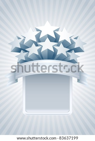 Silver stars banner. All elements are layered separately in vector file. Easy editable. - stock vector