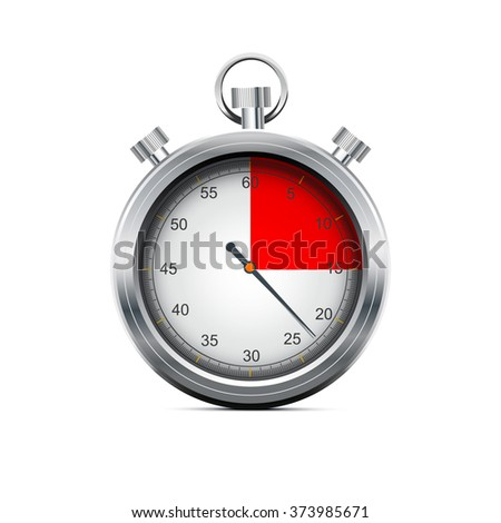 Silver stopwatch on the white background