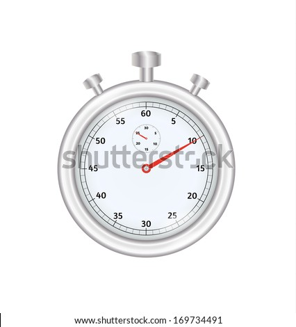 silver stopwatch with three buttons on white background