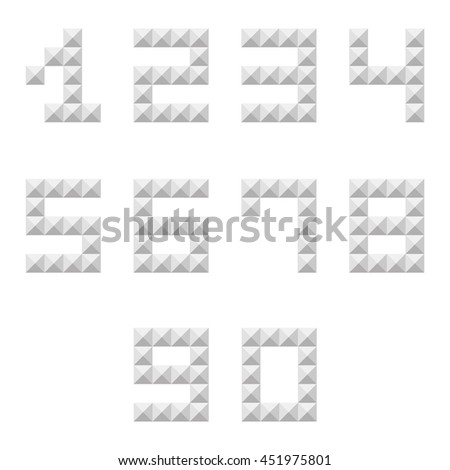 Silver studded 0-9 numbers set, collection isolated on white background. - stock vector