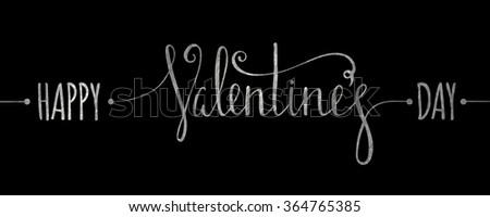 Silver textured Happy Valentines day inscription on black background. Design element for Valentine day card, banner, wedding invitation, postcard. Vector illustration. - stock vector