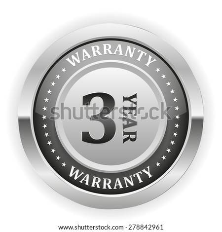 Silver three year warranty badge on white background