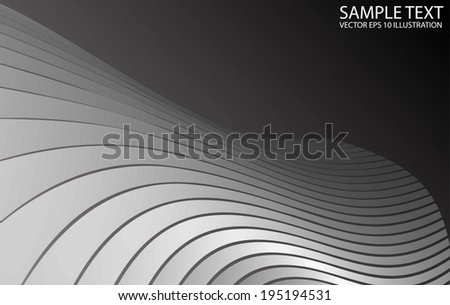 Silver vector background curved template - Silver vector metallic background illustration - stock vector