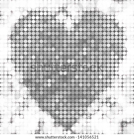 Silver vector background mosaic with light spots in the shape of heart - stock vector