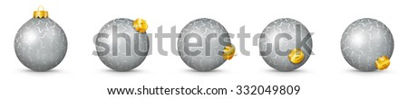Silver Vector Christmas Balls Collection with Starlet Texture - Panorama Bauble Set - Star Pattern - X-Mas Decorations - Each Ball is in Extra Vector Layer, Cleanly Separated - Christmas Tree Decor. - stock vector