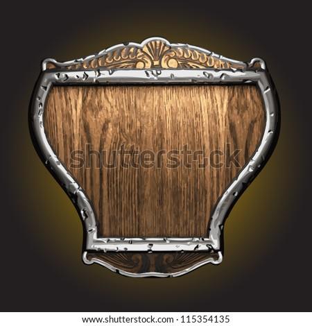 silver  vector shield - stock vector