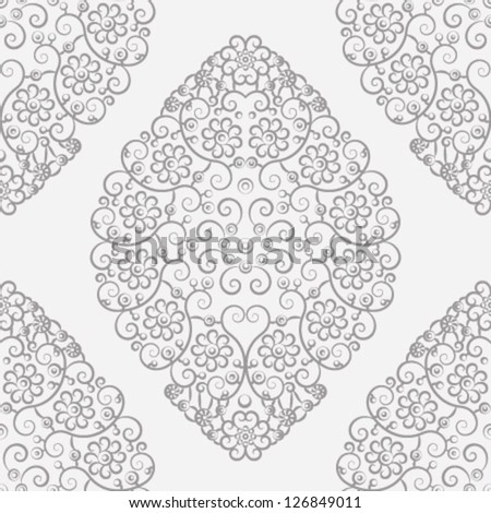 Silver vintage seamless pattern - stock vector