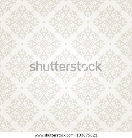 Silver vintage seamless wallpaper. EPS 8 vector illustration. - stock vector