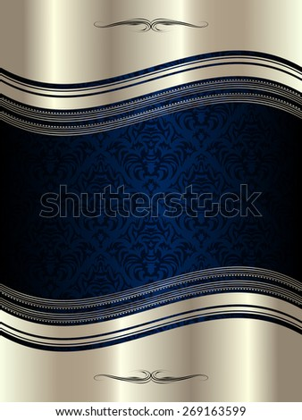 Silver wavy frame with decorative elements and patterns - stock vector