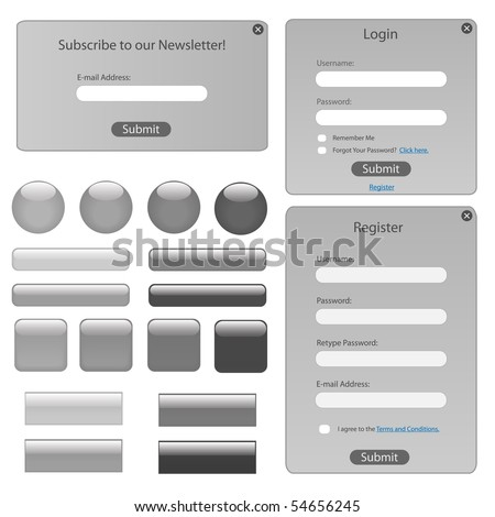 Silver web template with forms, bars and buttons. - stock vector