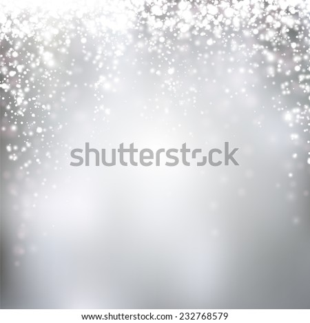 Silver winter abstract background. Christmas background with snowflakes. Vector. - stock vector