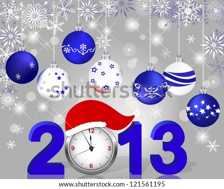 Silver 2013 with clock in Santa's hat and Christmas ball. Vector illustration. - stock vector