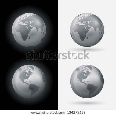 Silver world globe set. Vector illustration.
