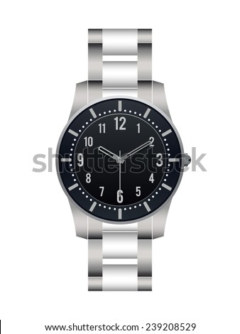 Silver wrist watch isolated on white background - stock vector