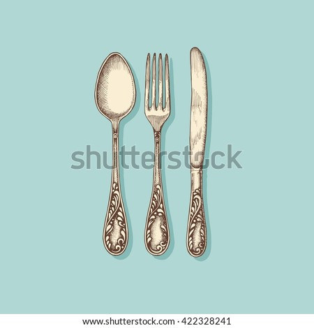 Silverware: fork, knife and spoon - vintage engraved illustration - stock vector