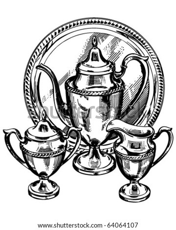 Silverware Tea Set - Retro Clipart Illustration - stock vector