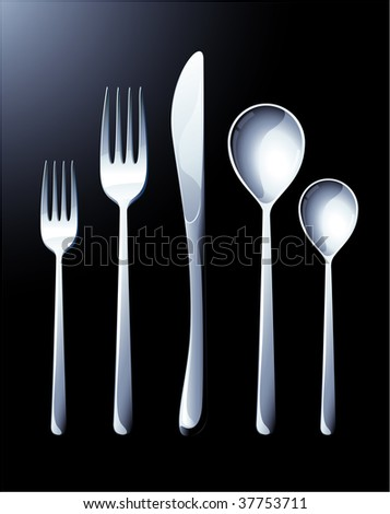 Silverware. Vector. - stock vector