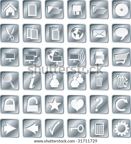 Silvery squared web buttons and icons