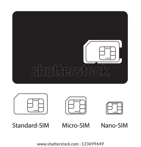 Sim card collection on white background - stock vector