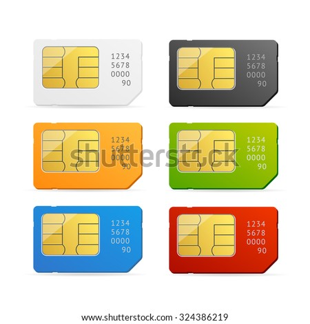 Sim Card Colorful Set Isolated. Vector illustration - stock vector